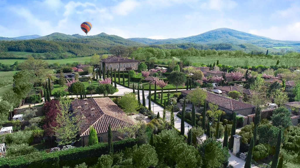 Hot air ballooning above Borgo Santo Pietro estate
